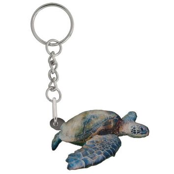 LMFGQ9 Sea Turtle Mirrored Acrylic Keychain