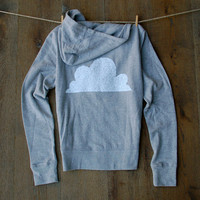 Sequin Cloud Sweatshirt -  Heather Grey Zip Up Hoodie Long Sleeve Hooded Women's Top Boho Sequin Patch