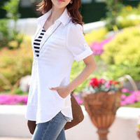 Classic Long Style Sheer Cotton Solid Color Dress Shirt