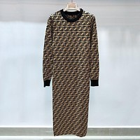 FENDI Women Fashion Long Sleeve Print Maxi Dress