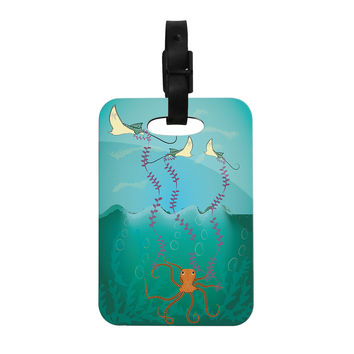 "Famenxt ""Octopus Flying Manta Rays"" Teal Green Decorative Luggage Tag"