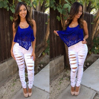 High Waisted Distressed Denim - White