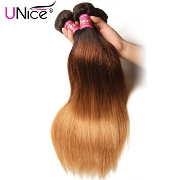 UNice Hair Color 1B/4/27 Peruvian Straight Hair Weave 1 Piece Ombre Hair Extensions Three Tone Non-remy Hair Bundles 16-26inch