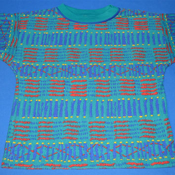 80s Health-Tex Tribal Surfing t-shirt Youth Small