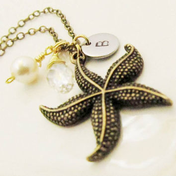Personalized Wedding necklaces Large Starfish Swarovski Pearl Crystal Briolette Bridesmaid Gifts Handmade