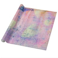 Pink Pastel Flower Paint Splatter Wrapping Paper