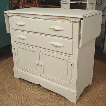 Reclaimed Vintage White Shabby Chic Cottage Milk Painted Drop Leaf Sideboard Server Buffet Island Cabinet (Call for a ship Quote)