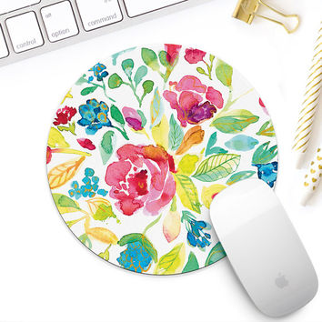 Watercolor floral mouse pad, Watercolor mousepad, Round or Rectangular mousepad, Cute desk accessory for her, Gift for lady boss