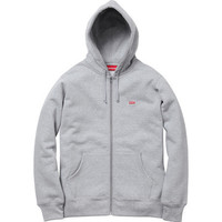 Supreme Small Box Logo Zip Up In Heather Grey