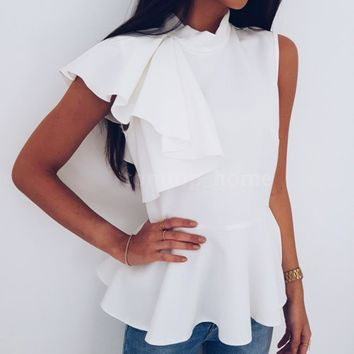 Sexy Womens Asymmetric Ruffle Side Sleeveless Peplum Blouse Top Summer Vest M4S5