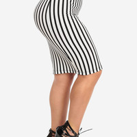 White And Black Stripes High Waist Pencil Skirt