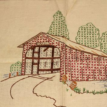 "Vintage Cross Stitch Covered Bridge | Simple Covered Bridge Design | Completed Cross Stitch 11"" x 11"" 