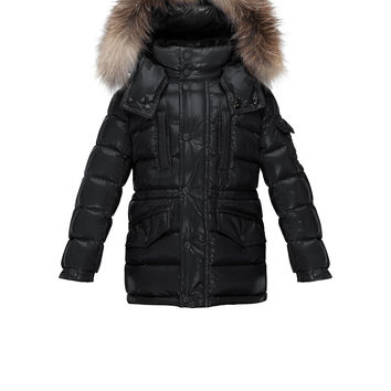 Hooded Fur-Trim Button-Front Puffer Coat, Black, Size 8-14,