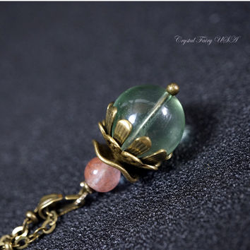 Antique Green Fluorite Necklace - Genuine Single Fluorite Bead Necklace - Green Stone Choker  Heart Chakra Healing -Simple Fluorite Necklace