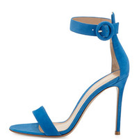 Gianvito Rossi Suede d'Orsay Ankle-Strap Sandal