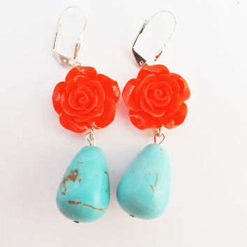 Turquoise and Red Flowers Droplet Earrings