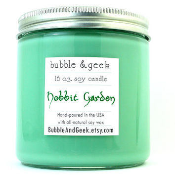 Hobbit Garden Soy Candle jar - green - Lord of the Rings - book candle