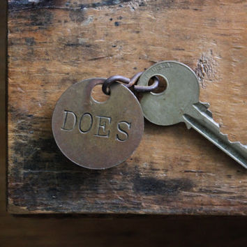 Does / Ladies Room Key, Vintage Hunting Camp Key Tag, Restroom Tag, Rustic Metal Tags, Vintage Hardware