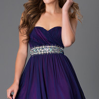 Short Strapless Sweetheart Dress with Jewel Embellished Waist