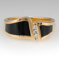 Bernard K Passman Wave Breaker Mens Ring Black Coral Diamonds 18K Gold