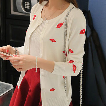 Vintage Red Lips Embroidered Cardigan - 3 Colors