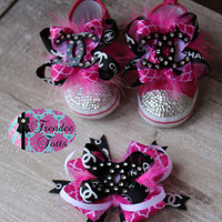Designer Inspired Baby Shoes with Matching Hairbow