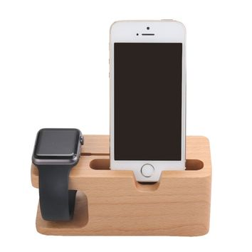 2in 1 Bamboo/Wood Apple Watch Stand Phones Charging Station iWatch Cradle Holder