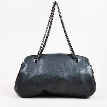 Chanel Black Caviar Leather Quilted 'CC' Shoulder Bag