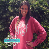 Comfort Colors Crewneck Sweatshirt Custom Glitter Monogram - Y'all Fancy