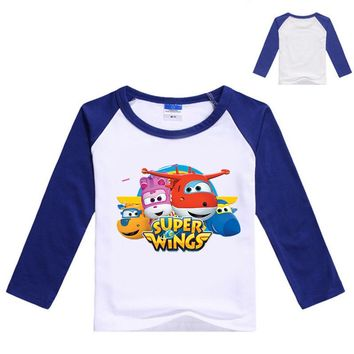 Z&Y 3-9Years Super Wings Clothes Boys Long Sleeve T Shirt with Spandex Girls Tshirt Kids Cartoon T-shirts Fashion Nova Top N7185