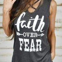 "RealChicksRule™ ""Faith Over Fear"" Arrow Printed Tank Top with Choker Criss Cross Neck"