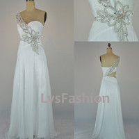 One Shoulder Sweetheart with Beading Chiffon Long White Prom Dress Evening Gown