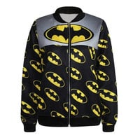 Batman Coat Zip Fashion Women Hoodies Women Printed Pullovers Long Sleeve Sweatshirts Loose Women Zipper Coat Outwear Baseball Jacket = 1927983044