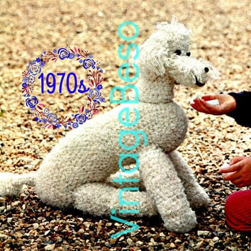Poodle Crochet Pattern • Dog Crochet Pattern • DIGITAL PATTERN • Retro 1970s • Digital Pattern • Soft Toy • Cute on Bed Sofa Floor Car xo