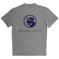 Old Glory Lab Logo Tee in Grey by Southern Proper
