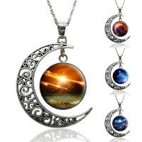 Online Shop 10 color Galaxy Space Moon Pendant Necklace Silver statement Jewelry choker Necklace For Women|Aliexpress Mobile