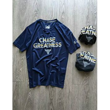 Under Armour counter cow head fitness leisure training sports short-sleeved T-shirt F-YF-MLBKS Blue