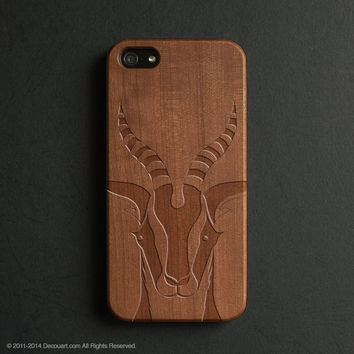 Real wood engraved goat pattern iPhone case S026