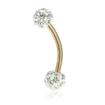 10k Yellow Gold Eyebrow Ring with White Preciosa Crystals Balls