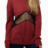 Burgundy Contrast Lace Insert Dipped Back Boyfriend Sweater