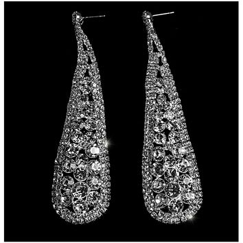 Olivia Round Cluster Statement Chandelier Earrings | Crystal | Silver