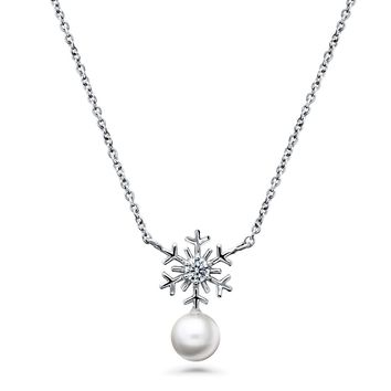 Sterling Silver Simulated Pearl Snowflake PendantBe the first to write a reviewSKU# n1349-01