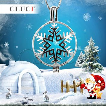 CLUCI Charming Jewelry Accessories Snowflake Flower Shaped Luxury Pendants cage pendants 3pcs Christmas/Halloween gift