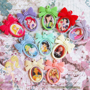 Disney Princess Necklace pink resin clear epoxy 25x18 setting Rapunzel bow Snow White Mulan Pocahontas Jasmine Sofia Merida Ariel Cinderella