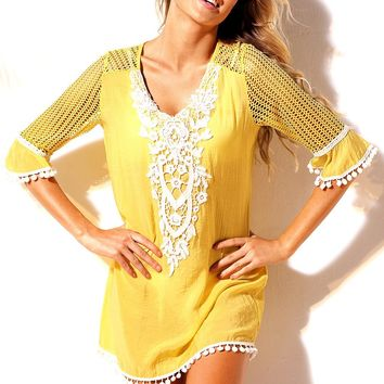 Fashion Yellow Crochet Pom Pom Trim Beach Tunic Cover up