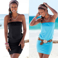 Sexy Women Summer Dress  Beach  Sleeveless Bodycon Bandage  Strapless Mini Pencil Dress Clubwear