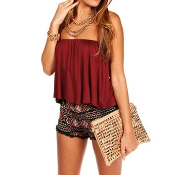 Ruby Strapless Ruffle Crop Top