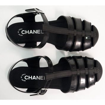New In Box Chanel Black Rubber Sandals 41