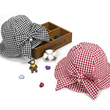 ideacherry Lovely Baby Summer Sunhat for Boy Girl Cartoon Cotton Plaid Hat with Bowknot Adjustable Kids Bucket Cap for 1-3 Years