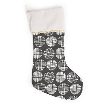"Gill Eggleston ""Sketched Pods Carbon"" Black White Abstract Modern Digital Vector Christmas Stocking"